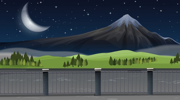 自然の山の風景の背景