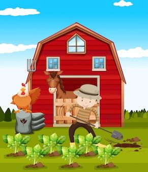 農家の農場で働いて