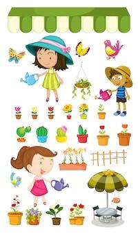 植物に水をまく子供たち