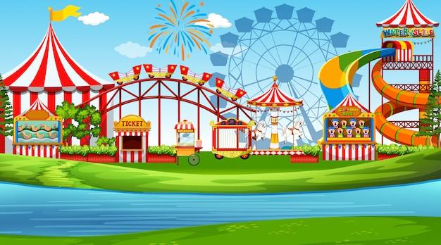楽しい遊園地のシーン