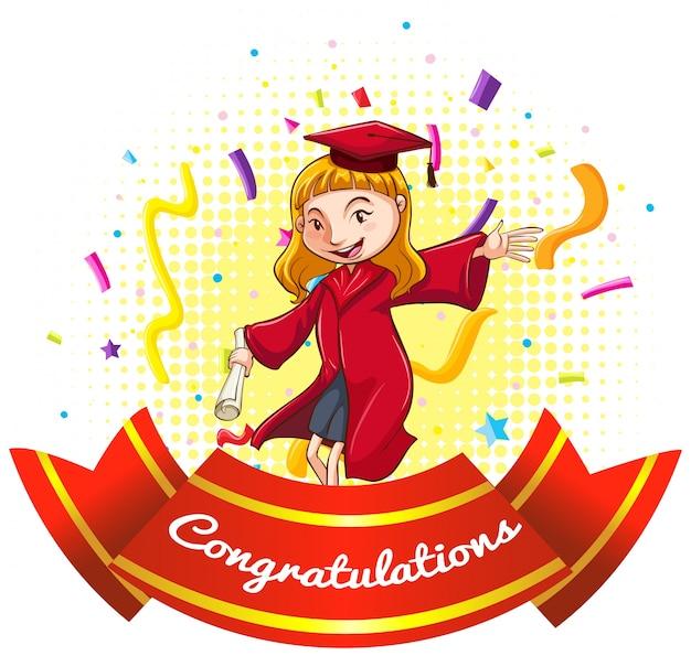卒業ガウンの女の子とお祝いのサイン