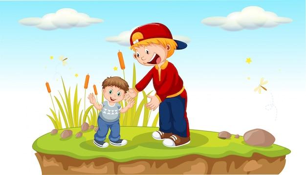 Отец и сын в парке