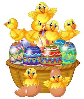 飾られた卵の上に立ってかわいい雛
