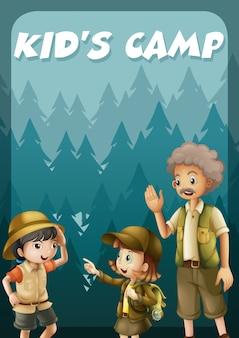 森のバナーでキャンプに行く子供