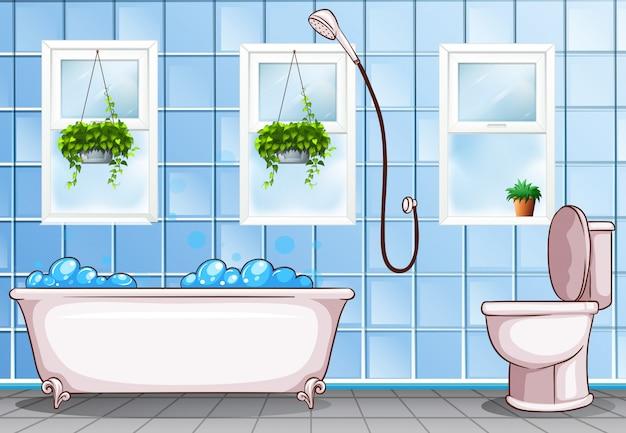 バスタブとトイレ付きのバスルーム