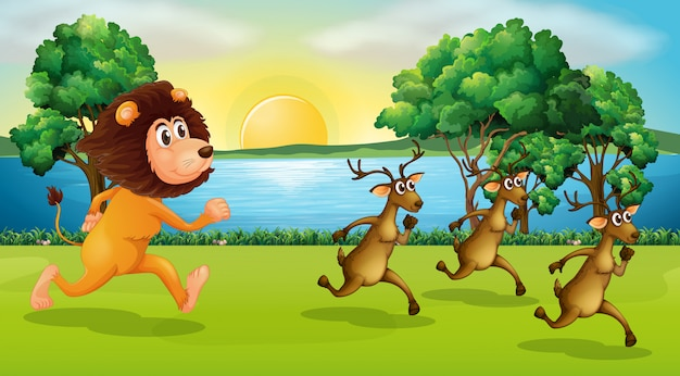 Лев и олени бегут в парке