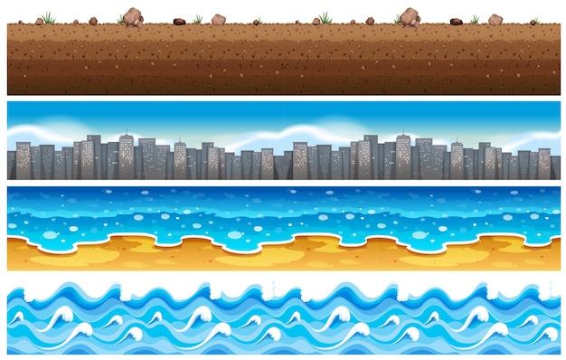 Бесшовный фон с водой и городской сцены