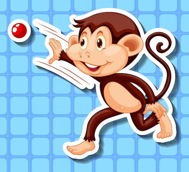 赤いボールを投げて小さな猿