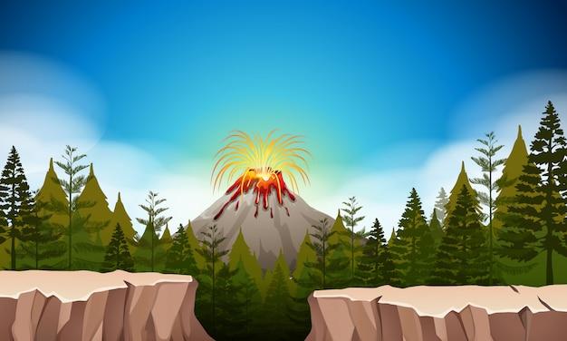 火山噴火のある自然の風景