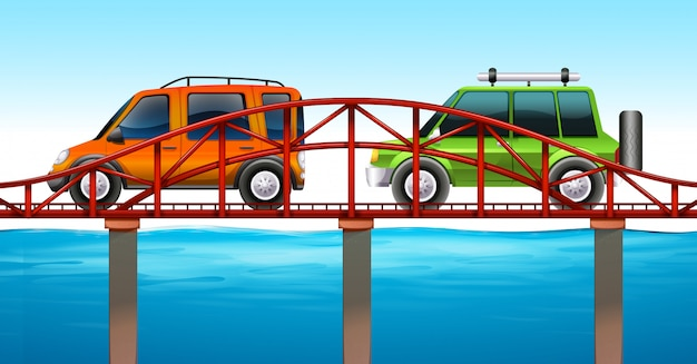 Две машины на мосту