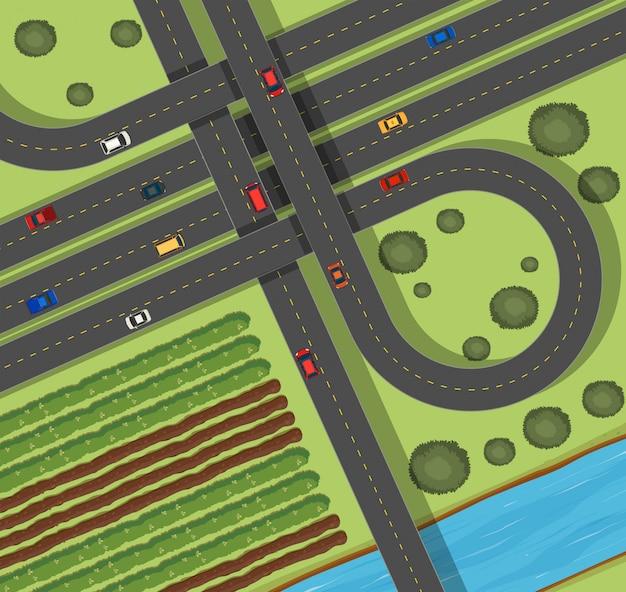 Сцена с дорогами в сельской местности