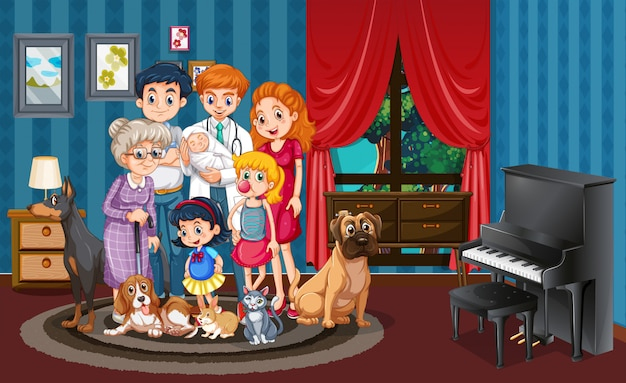 家の中で家族の写真