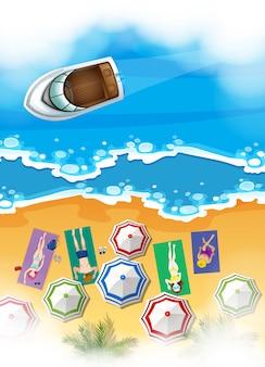 日光浴をする人々とビーチのシーン