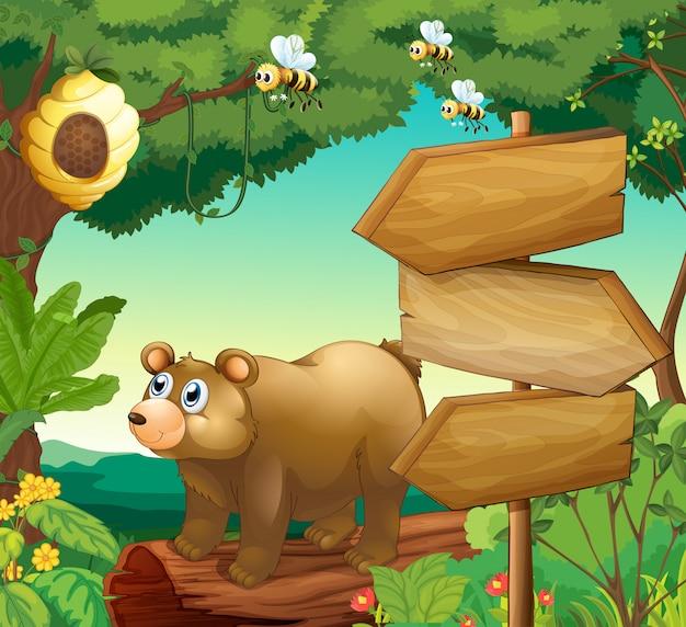 Сцена с медведем и деревянными знаками