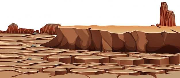 干ばつのひびの入った砂漠の風景