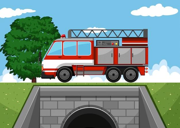 道路上の消防車