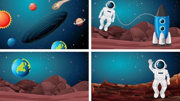 宇宙背景の宇宙飛行士のセット
