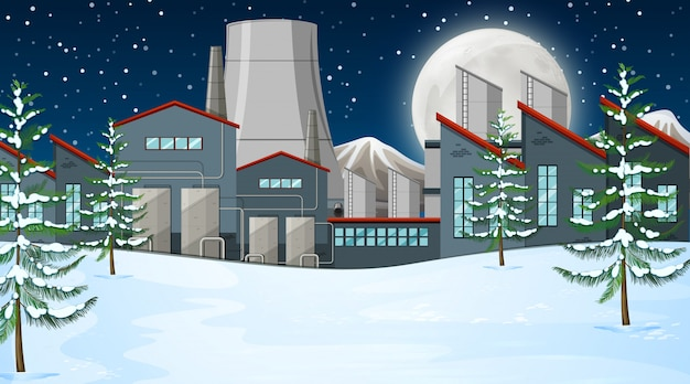 雪の中の工場