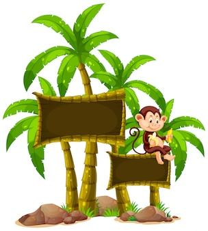 Знак шаблон с обезьяной и деревьями