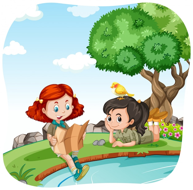 川でキャンプをする女の子