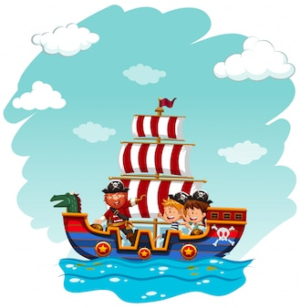 バイキングボートに乗って子供たち
