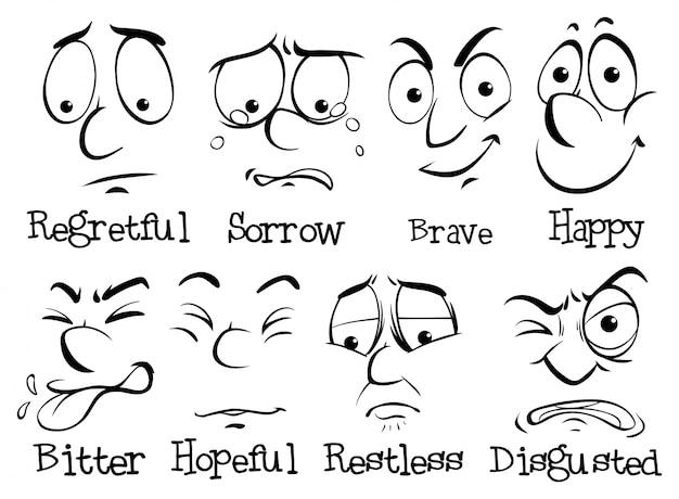 異なる感情を持つ人間の顔