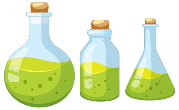 実験室の瓶のセット