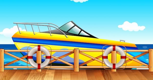 桟橋でスピードボートパーク