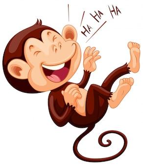 一人で笑っている小さな猿