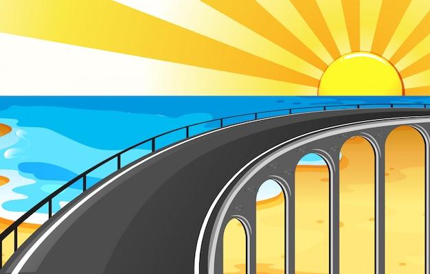 Фон сцены с моста и океана