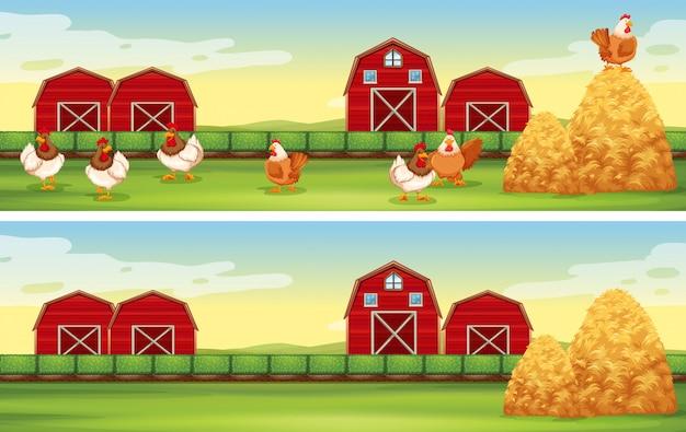 鶏と農場の納屋