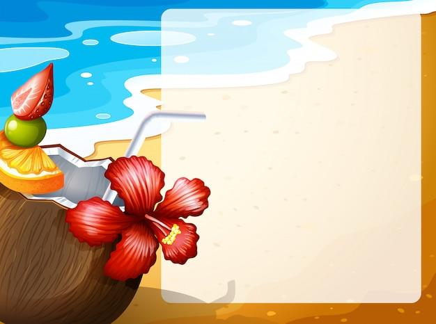 ビーチでココナッツジュース