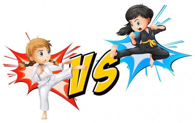 Две девушки сражаются