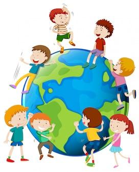 多くの子供たちが世界を取り巻く