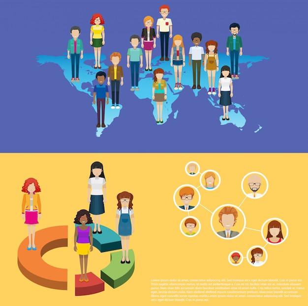 世界地図と人々のインフォグラフィック