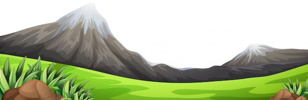 山の緑の前景シーン