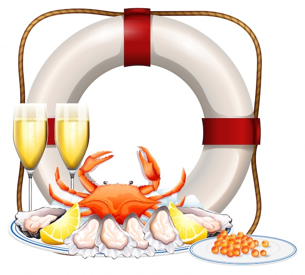 Морепродукты на тарелке и два бокала шампанского