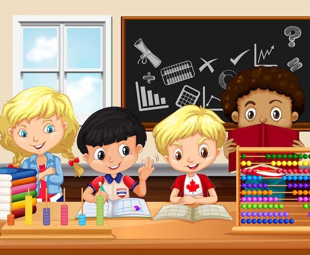 子供たちが教室で勉強する