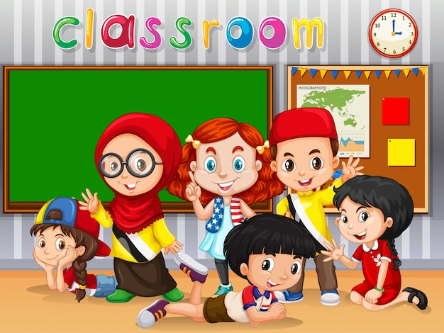 多くの子供たちが教室で学ぶ