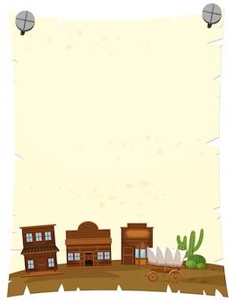Бумажный шаблон с западным городом