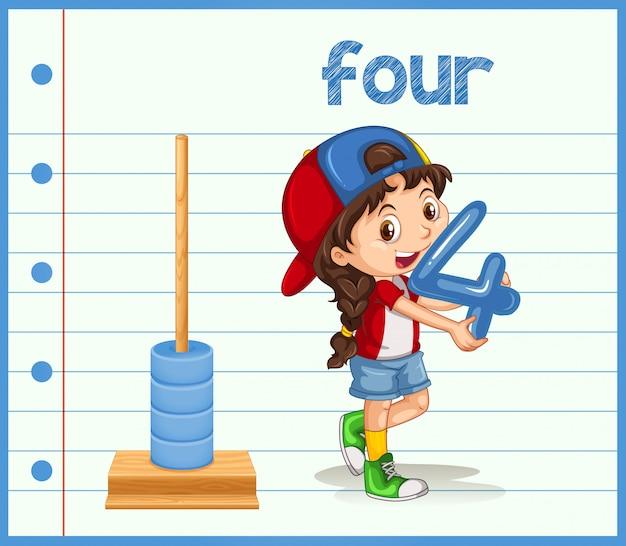 Молодая девушка держит номер четыре