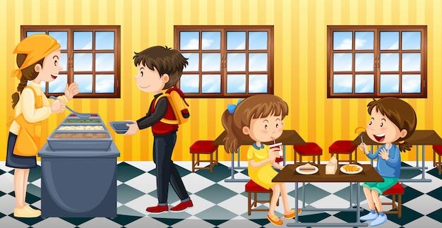 食堂で食べる人とのシーン
