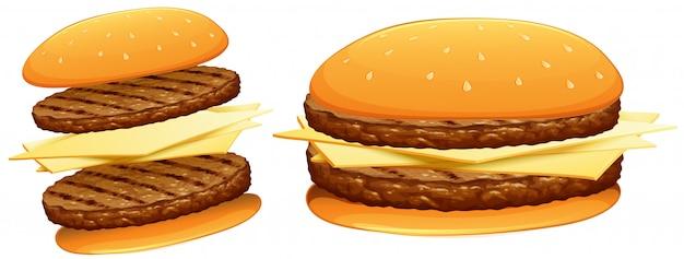 牛肉とチーズのハンバーガー