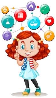 ボタン上の女の子と科学のシンボル