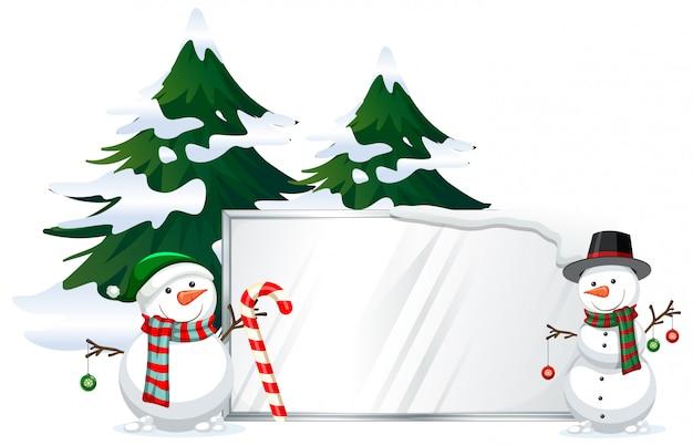 看板テンプレートと雪だるま