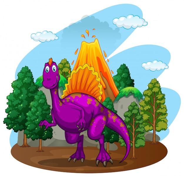 背後にある火山と紫色の恐竜