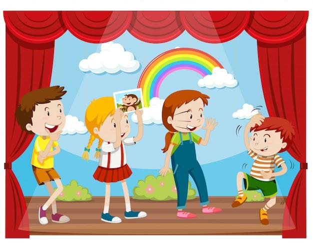 ステージ上で行動する子供たち