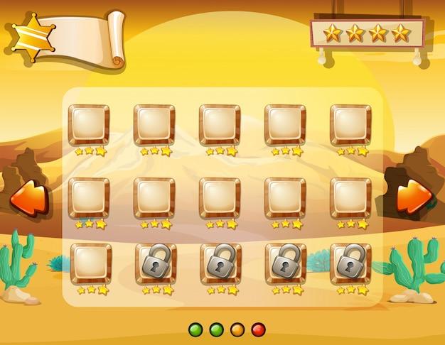 砂漠の背景を持つゲームのテンプレート