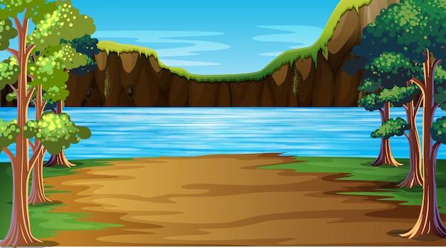 屋外湖の自然シーンの背景