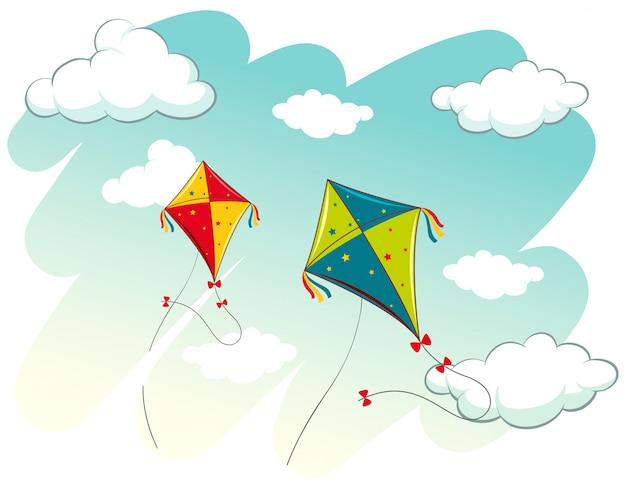 Сцена с двумя воздушными змеями в небе